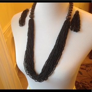 Black Seed Bead & Wooden Bead Necklace & Earrings